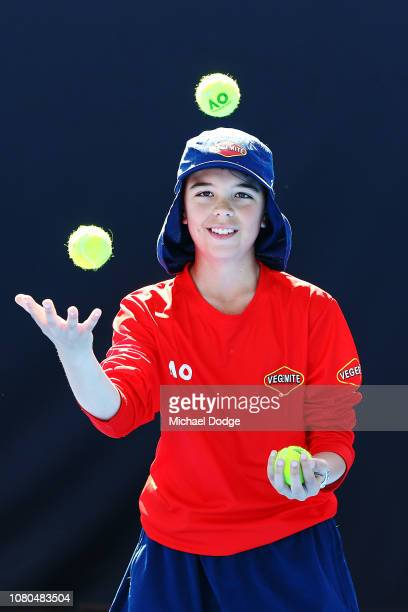 A ballkid juggles balls during the 2019 Australian Open Ballkids launch at Melbourne Park on December 11 2018 in Melbourne Australia