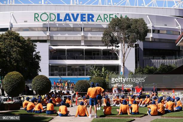Ballkids gather at Rod Laver Arena Garden Square during a practice session ahead of the 2018 Australian Open at Melbourne Park on January 9 2018 in...