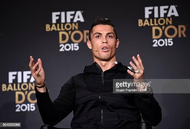 Ballon dOr 2015 nominee Cristiano Ronaldo of Portugal and Real Madridanswers media questions during the FIFA Ballon dOr 2015 press conference prior...
