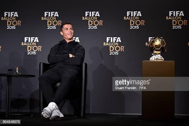 Ballon dOr 2015 nominee Cristiano Ronaldo of Portugal and Real Madridduring the FIFA Ballon dOr 2015 press conference prior to the FIFA Ballon d'Or...