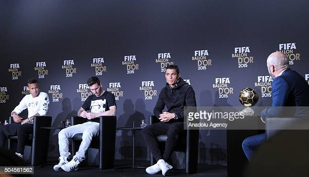 Ballon d'Or 2015 nominees Neymar of Brazil and FC Barcelona Lionel Messi of Argentina and FC Barcelona and Cristiano Ronaldo of Portugal and Real...