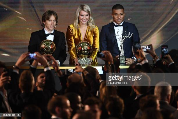 TOPSHOT 2018 Ballon d'Or awarded for best player of the year Men's Ballon d'Or Real Madrid's Croatian midfielder Luka Modric Women's Ballon d'Or...