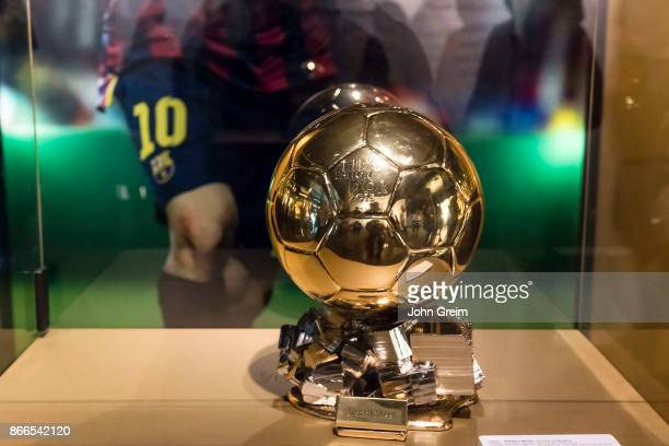 Ballon d'Or awarded to Lionel Messi on display at Camp Nou stadium