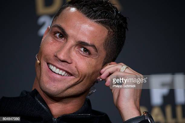 Ballon d'Or nominee Cristiano Ronaldo of Portugal and Real Madrid attends a press conference prior to the FIFA Ballon d'Or Gala 2015 at the...