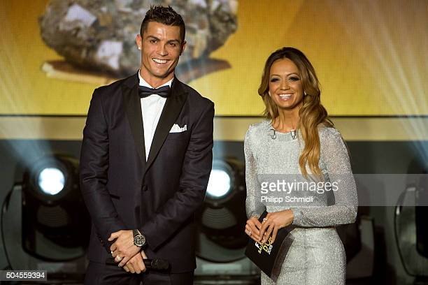 Ballon d'Or nominee Cristiano Ronaldo of Portugal and Real Madrid and presenter Kate Abdo look on during the FIFA Ballon d'Or Gala 2015 at the...