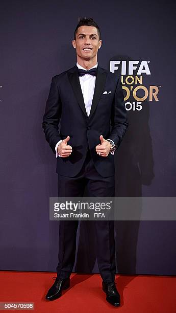 Ballon d'Or nominee Cristiano Ronaldo of Portugal and Real Madrid arrives for the FIFA Ballon d'Or Gala 2015 at the Kongresshaus on January 11, 2016...