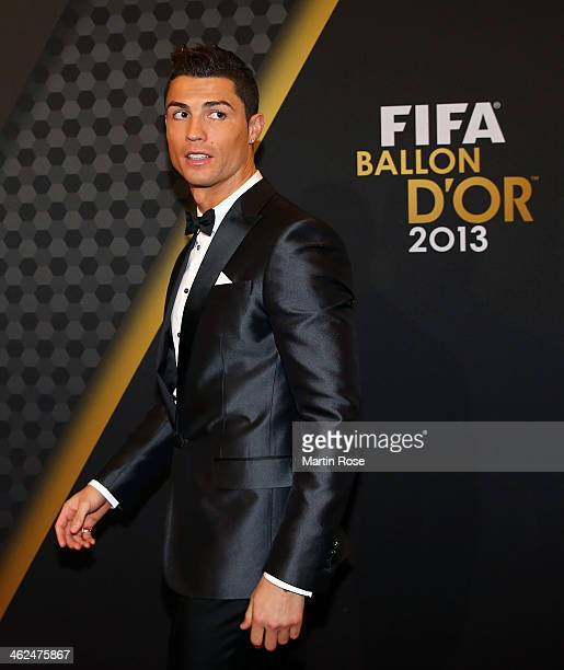 Ballon d'Or nominee Cristiano Ronaldo of Portugal and Real Madrid arrives during the FIFA Ballon d'Or Gala 2013 at the Kongresshalle on January 13...