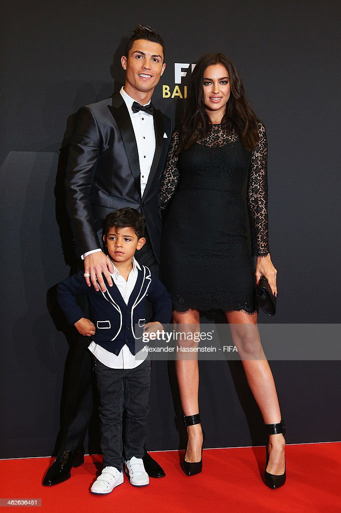 Ballon d'Or nominee Cristiano Ronaldo of Portugal and Real Madrid, Irina Shayk and his son Cristiano Ronaldo Junior arrive during the FIFA Ballon d'Or Gala 2013 at the Kongresshaus on January 13, 2014 in Zurich, Switzerland.