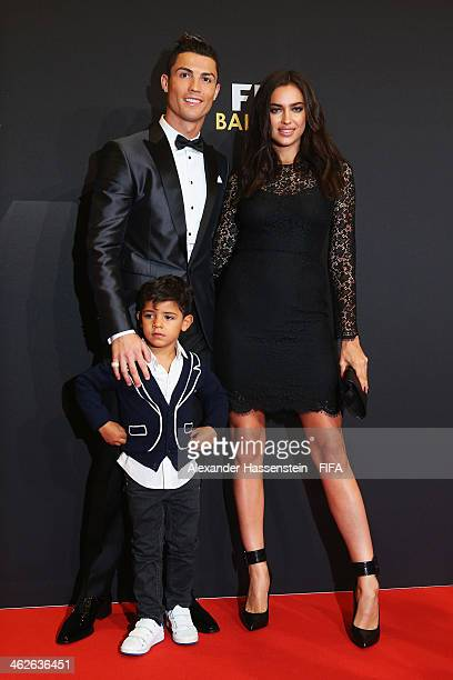 Ballon d'Or nominee Cristiano Ronaldo of Portugal and Real Madrid Irina Shayk and his son Cristiano Ronaldo Junior arrive during the FIFA Ballon d'Or...