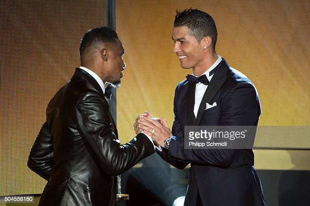 Ballon d'Or nominee Cristiano Ronaldo of Portugal and Real Madrid shakes hands with Samuel Eto'o during the FIFA Ballon d'Or Gala 2015 at the...