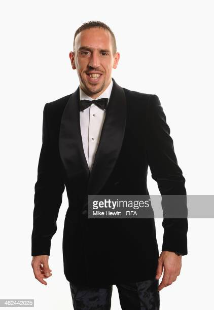 Ballon d'Or nominee Franck Ribery of France and Bayern Munich poses for a portrait prior to the FIFA Ballon d'Or Gala 2013 at the Park Hyatt hotel on...