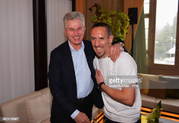 Ballon d'Or nominee Franck Ribery of France and Bayern Munich poses with FIFA World Coach of the Year for Men's Football nominee and former manager...