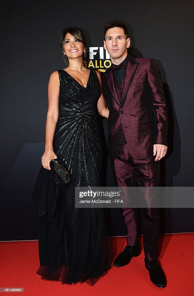 Ballon d'Or nominee Lionel Messi of Argentina and Barcelona and Antonella Roccuzzo arrive at the FIFA Ballon d'Or Gala 2014 at the Kongresshaus on January 12, 2015 in Zurich, Switzerland.