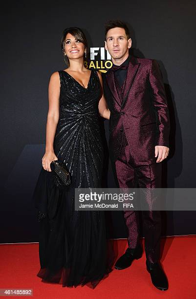 Ballon d'Or nominee Lionel Messi of Argentina and Barcelona and Antonella Roccuzzo arrive at the FIFA Ballon d'Or Gala 2014 at the Kongresshaus on...