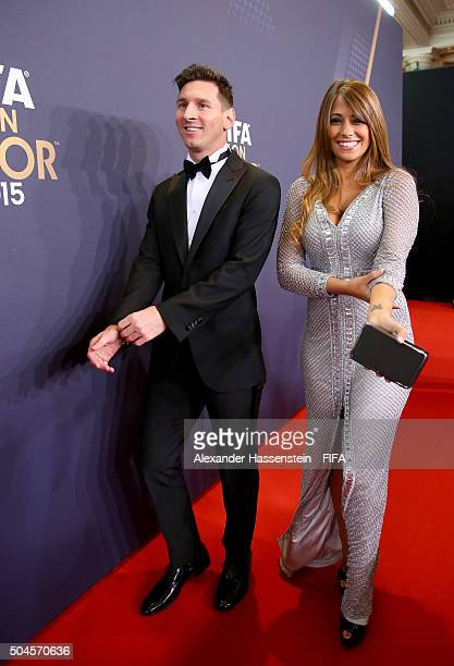 Ballon d'Or nominee Lionel Messi of Argentina and Barcelona and Antonella Roccuzzo arrive for the FIFA Ballon d'Or Gala 2015 at the Kongresshaus on...