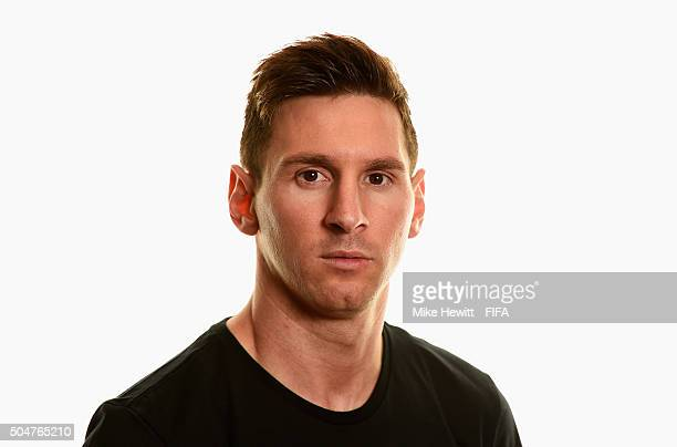Ballon d'Or nominee Lionel Messi of Argentina and Barcelona poses for a portrait prior to the FIFA Ballon d'Or Gala 2015 at the Park Hyatt hotel on...