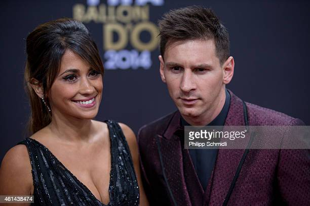 Ballon d'Or nominee Lionel Messi of Argentina and FC Barcelona and his wife Antonella Roccuzzo arrive during the FIFA Ballon d'Or Gala 2014 at the...
