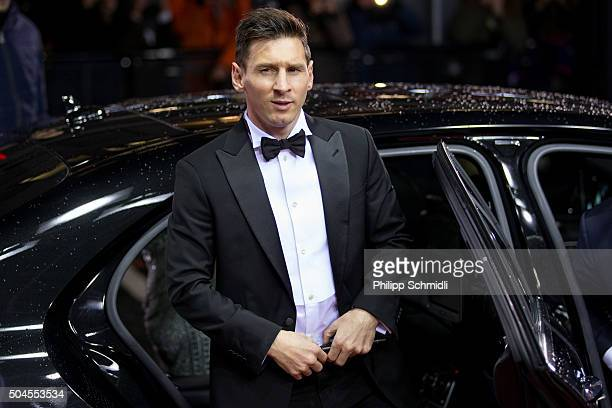 Ballon d'Or nominee Lionel Messi of Argentina and FC Barcelona arrives for the FIFA Ballon d'Or Gala 2015 at the Kongresshaus on January 11 2016 in...