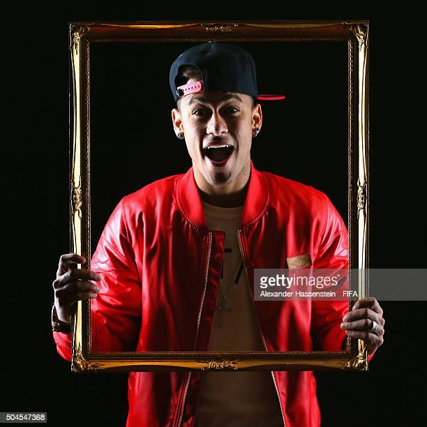 Ballon d'Or nominee Neymar of Brazil and Barcelona poses for a portrait prior to the FIFA Ballon d'Or Gala 2015 at the Park Hyatt hotel on January 11...