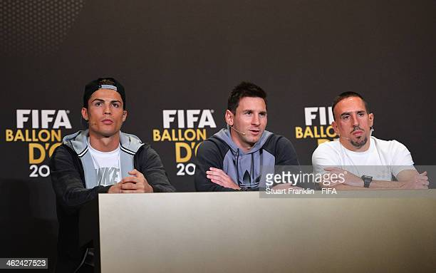 Ballon d'Or nominees Cristiano Ronaldo of Portugal and Real Madrid Lionel Messi of Argentina and Barcelona and Franck Ribery of France and Bayern...