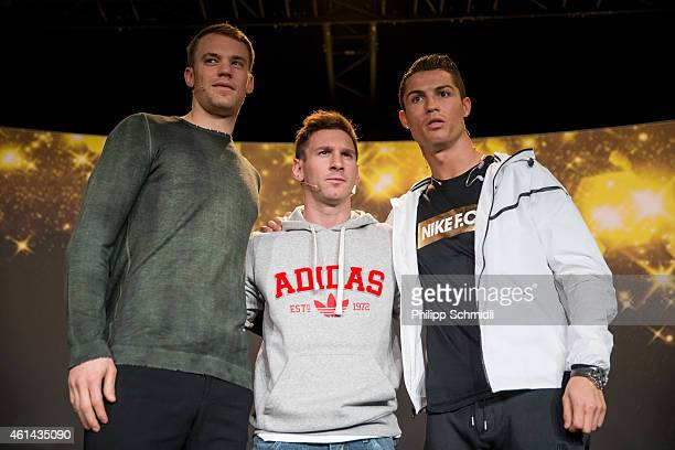 Ballon d'Or nominees Manuel Neuer of Germany and FC Bayern Munich, Lionel Messi of Argentina and FC Barcelona and Cristiano Ronaldo of Portugal and...