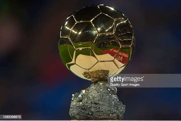 Ballon d'Or trophy before the La Liga match between Real Madrid CF and Rayo Vallecano de Madrid at Estadio Santiago Bernabeu on December 15 2018 in...