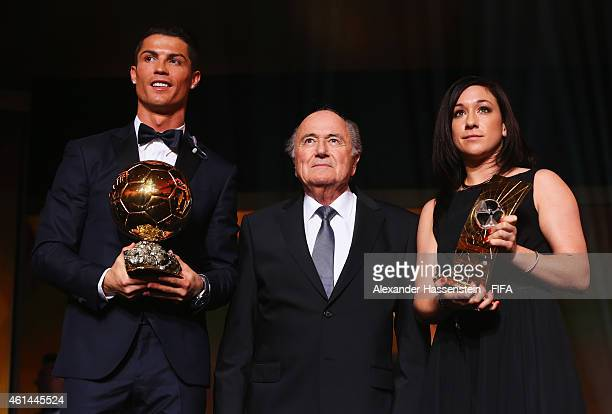 Ballon d'Or winner Cristiano Ronaldo of Portugal and Real Madrid and FIFA Women's World Player of the Year winner Nadine Kessler of Germany and VfL...