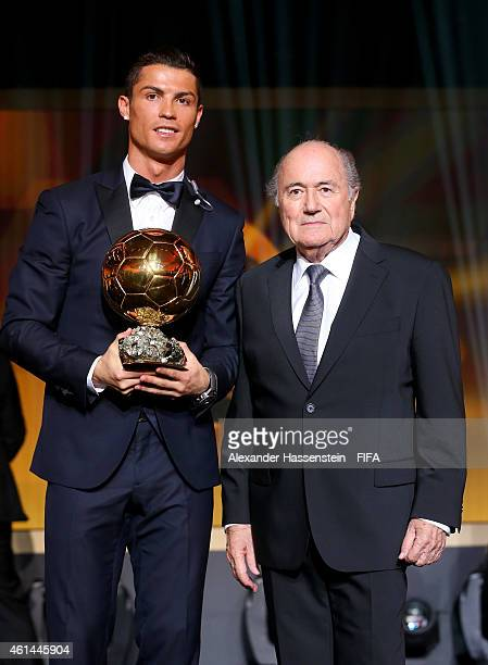 Ballon d'Or winner Cristiano Ronaldo of Portugal and Real Madrid and FIFA President Joseph S Blatter pose during the FIFA Ballon d'Or Gala 2014 at...