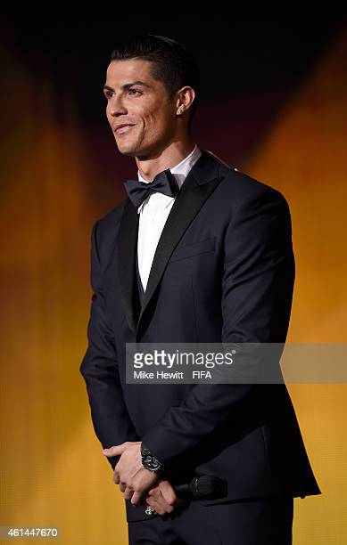 Ballon d'Or winner Cristiano Ronaldo of Portugal and Real Madrid looks on during the FIFA Ballon d'Or Gala 2014 at the Kongresshaus on January 12...