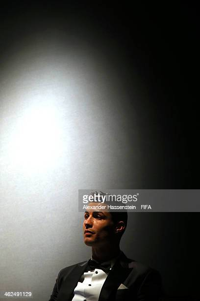 Ballon d'Or winner Cristiano Ronaldo of Portugal and Real Madrid looks on after the FIFA Ballon d'Or Gala 2013 at the Kongresshaus on January 13 2014...