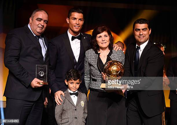 Ballon d'Or winner Cristiano Ronaldo of Portugal and Real Madrid poses with son Cristiano Ronaldo Junior and mother Maria Dolores dos Santos Aveiro...