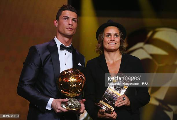 Ballon d'Or winner Cristiano Ronaldo of Portugal and Real Madrid poses with FIFA Women's World Player of the Year winner Nadine Angerer of Germany...
