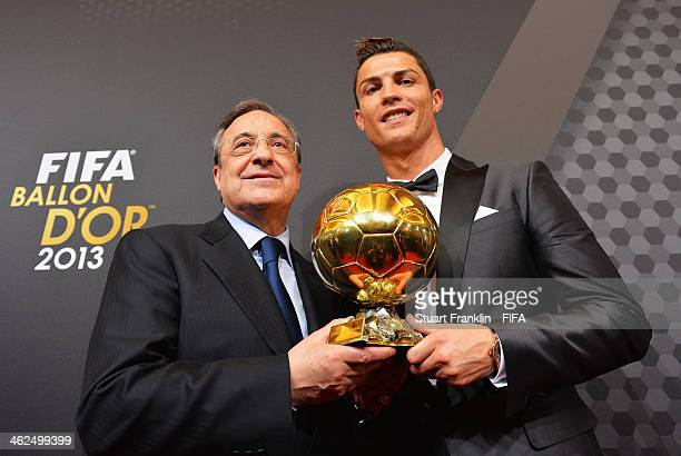 Ballon d'Or winner Cristiano Ronaldo of Portugal and Real Madrid poses with Real Madrid president Florentino Perez after the FIFA Ballon d'Or Gala...