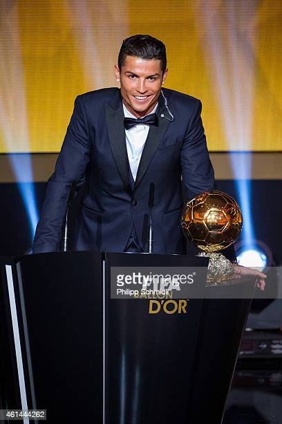 Ballon d'Or winner Cristiano Ronaldo of Portugal and Real Madrid speaks during the FIFA Ballon d'Or Gala 2014 at the Kongresshaus on January 12 2015...