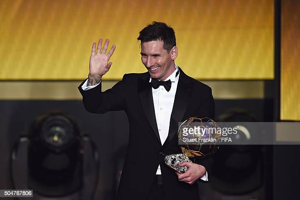 Ballon d'Or winner Lionel Messi of Argentina and Barcelona accepts his award during the FIFA Ballon d'Or Gala 2015 at the Kongresshaus on January 11...