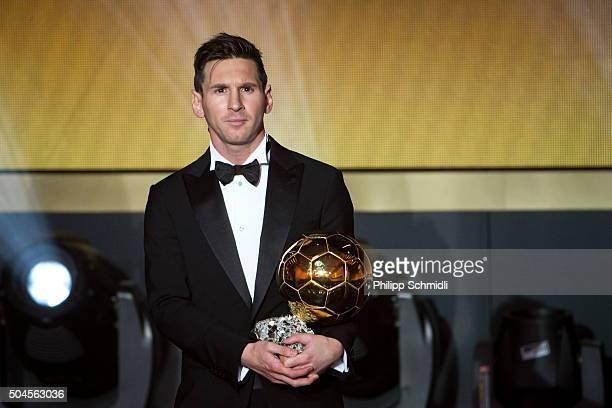 Ballon d'Or winner Lionel Messi of Argentina and FC Barcelona looks on during the FIFA Ballon d'Or Gala 2015 at the Kongresshaus on January 11, 2016...