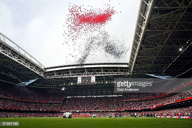 Ballons are released before kickoff of the FA Community Shield match between Arsenal and Liverpool at the Millenium stadium in Cardiff 11 August 2002...