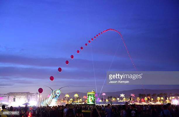Balloon Chain art installation by Robert Base during day 1 of the 2015 Coachella Valley Music Arts Festival at the Empire Polo Club on April 10 2015...