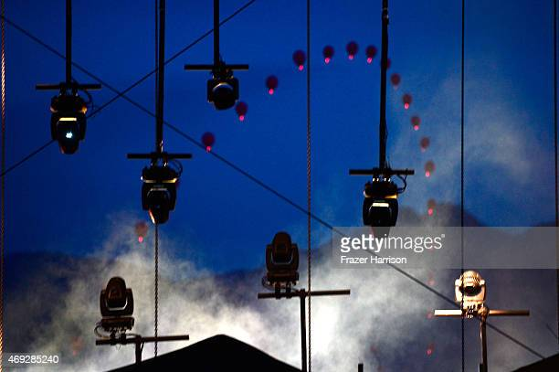 Balloon Chain art installation by Robert Base is seen during day 1 of the 2015 Coachella Valley Music Arts Festival at the Empire Polo Club on April...