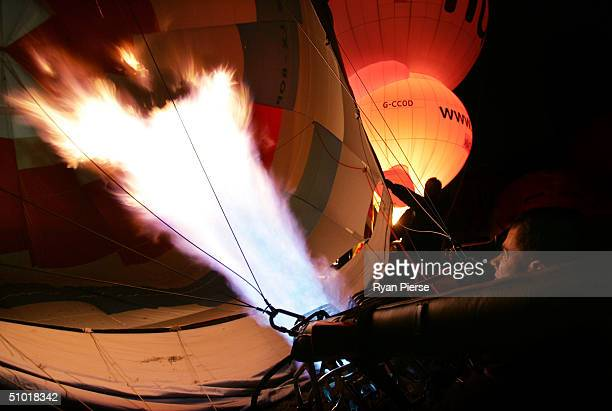 Balloon crews in action during the 2004 World Hot Air Balloon Championships July 2 2004 in Mildura Australia The event began June 26 and will end...