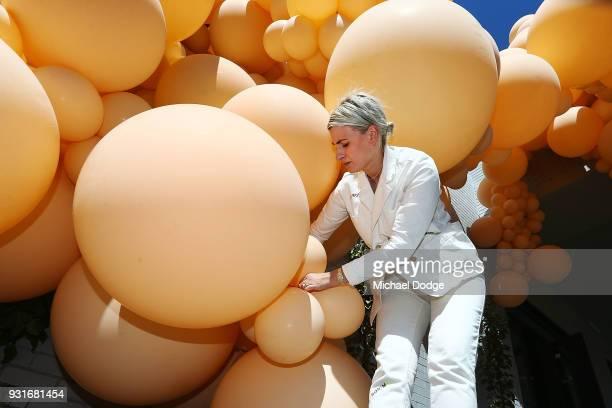 Balloon designer Jihan Zencirli aka Geronimo attends to her installation for Melbourne Design Week 2018 on March 14 2018 in Melbourne Australia The...