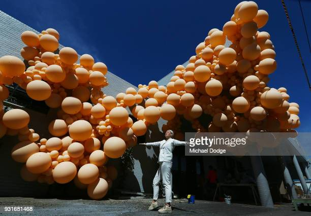 MELBOURNE AUSTRALIA MARCH Balloon designer Jihan Zencirli aka Geronimo poses with her installation for Melbourne Design Week 2018 on March 14 2018 in...