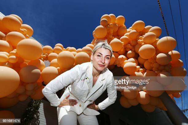Balloon designer Jihan Zencirli aka Geronimo poses with her installation for Melbourne Design Week 2018 on March 14 2018 in Melbourne Australia The...