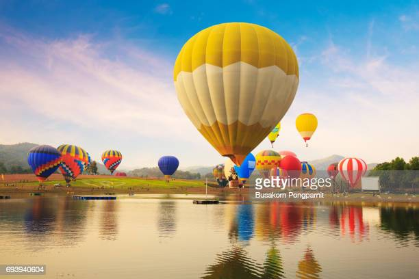 Balloon festival, landscape view and sunset.