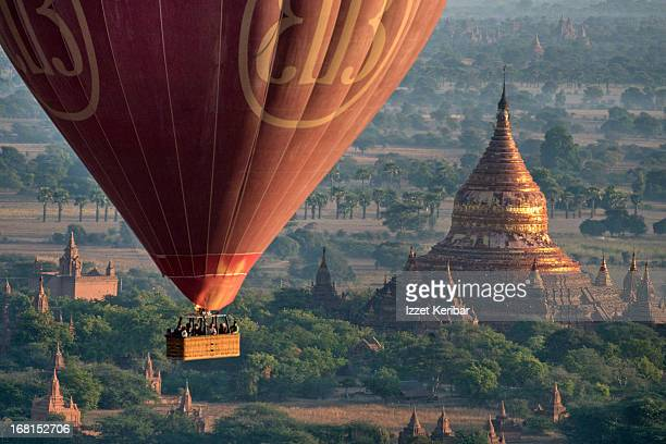 Balloon Floating Above the Temples of Bagan