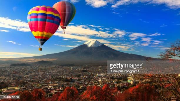 Balloon flying Over Mountain Fuji with Fujiyoshida City View