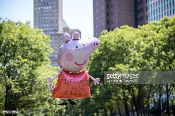 A balloon in the shape of a pig has the words Defund These Pigs flies above he thousands of protesters that gathered for peaceful protest in Cadman...