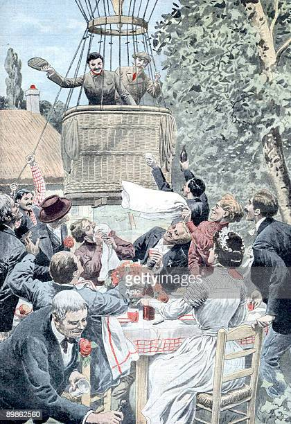 balloon landing during a wedding in Louhans France lastpage of newspaper Petit Journal may 23 1909