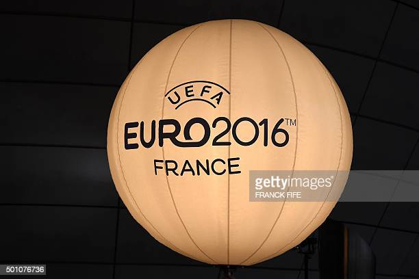 A balloon light with the logo of the UEFA Euro 2016 is pictured outside the Palais des Congres in Paris on December 12 ahead of the draw for the Euro...