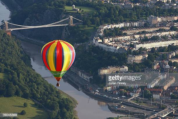 A balloon moves over Bristol during day two of the Bristol Balloon Fiesta on August 10 2007 in Bristol England